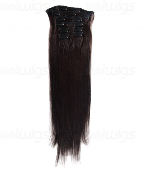 "16"" 7 Piece Straight Clip In Remy Human Hair Extension E71602"