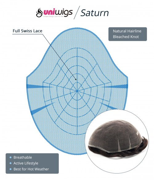 """Saturn -- 6""""*8"""" Breathable & Undetectable Full Swiss Lace Men Hair System"""