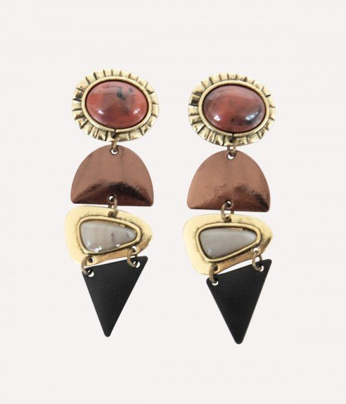 Retro   Spliced Geometric Drop Earrings