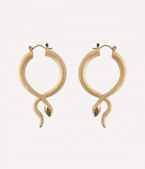Metallic Snake  Gold Hoop Earrings