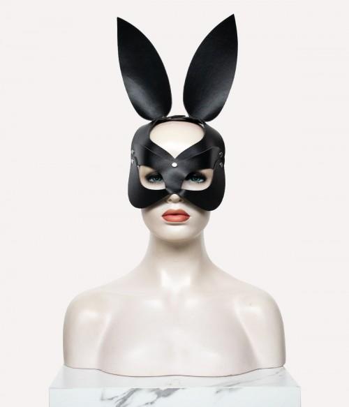 Black Leather Bunny face   Rabbit Ear Mask