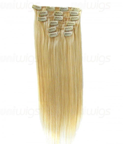"16"" 7 Piece Straight Clip In Remy Human Hair Extension E71605"