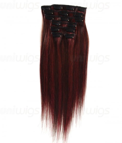 "16"" 7 Piece Straight Clip In Remy Human Hair Extension E71606"