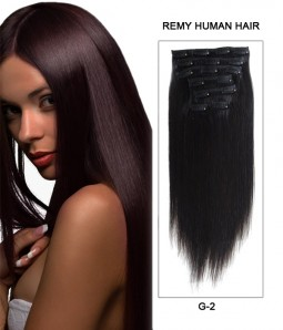 "18"" 7 Piece Straight Clip In Remy Human Hair Extension E71802"