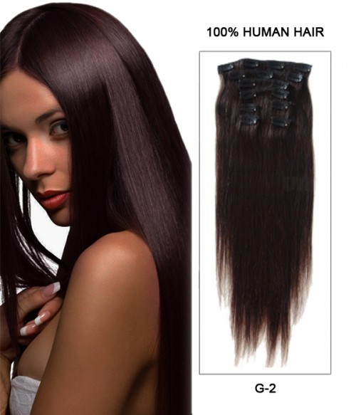 """18"""" 7 Piece Straight Clip In Human Hair Extension E71803-H"""