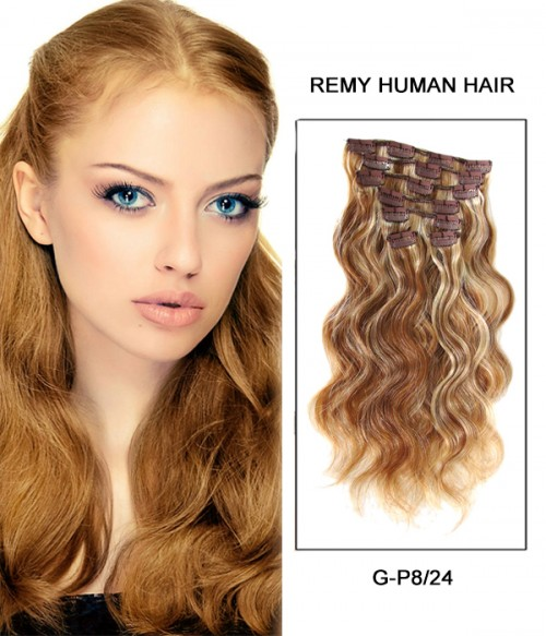 "18"" 7 Piece Body Wave Clip In Remy Human Hair Extension E71805"