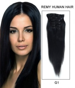 """20"""" 8 Pieces Straight Clip In Virgin Remy Human Hair Extension E82001"""