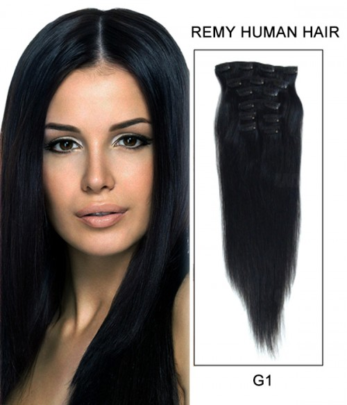 "20"" 8 Piece Straight Clip In Remy Human Hair Extension E82001"