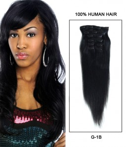 """20"""" 8 Pieces Straight Clip In Human Hair Extension E82002-H"""