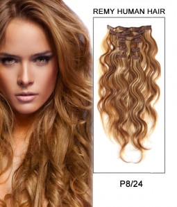 "20"" 8 Pieces Body Wave Clip In Remy Human Hair Extension E82005"
