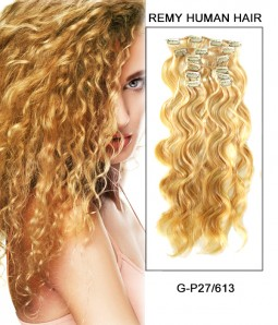 "20"" 8 Piece Wavy Clip In Remy Human Hair Extension E82006"