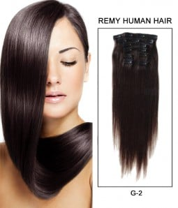 "22"" 8 Pieces Straight Clip In Remy Human Hair Extension E82202"
