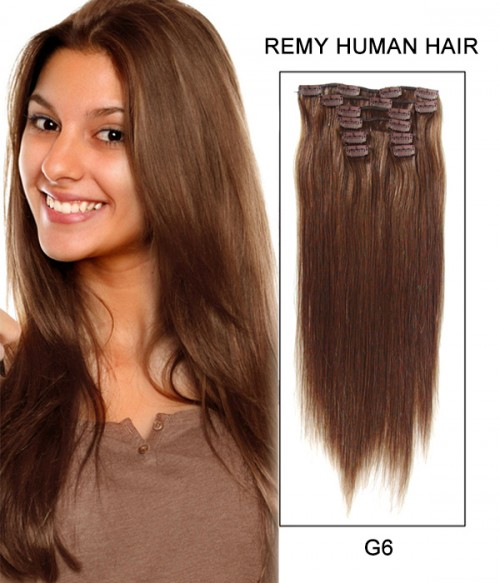"22"" 8 Piece Straight Clip In Remy Human Hair Extension E82203"