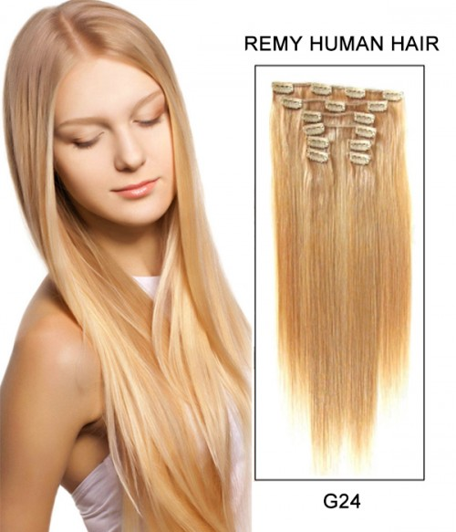 "22"" 8 Piece Straight Clip In Remy Human Hair Extension E82204"