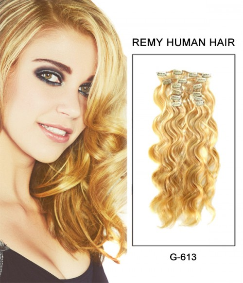 """22"""" 8 Piece Body Wave Clip In Remy Human Hair Extension E82206"""
