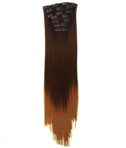 "24"" 7 Pieces Straight Clip In Heat Friendly Synthetic Extension E72404"