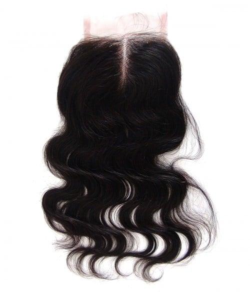 "8""-24"" Body Wave Brazilian Remy Human Hair Middle Part Lace Top Closure Piece  (4""x5"")"