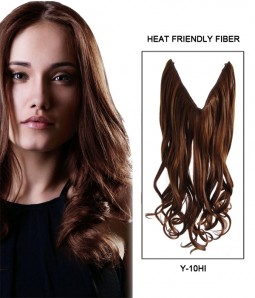 "Upgraded 22"" Wave Synthetic Miracle Wire Uni-Hair Extension With Bead E52002-Y-10HI"