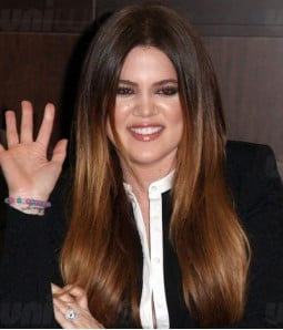 "Khloe Kardashian 20"" Silk Straight Indian Remy Human Hair Ombre Color Lace Front Wig"