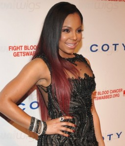 """Ashanti 18"""" Silk Straight Indian Remy Human Hair Ombre Color Lace Front Wig"""