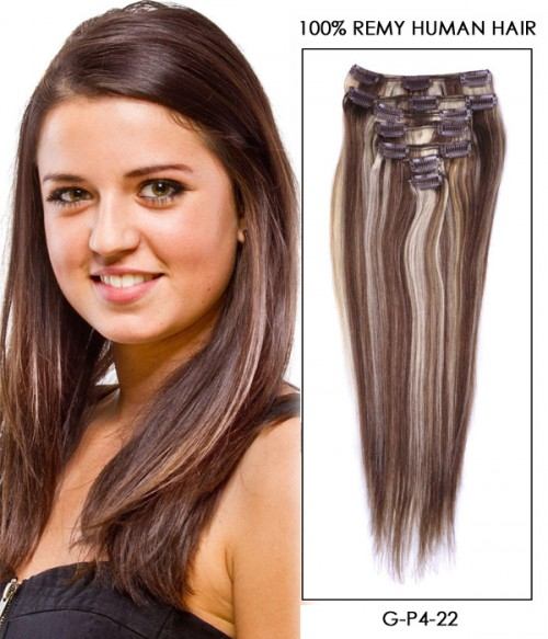 """16"""" Piano Color 7 Pieces Straight Clip In Indian Remy Human Hair Extension E716002STW-G-P4-22"""