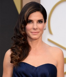 "Custom Sandra Bullock 20"" Loose Wave Indian Remy Human Hair Highlight Lace Front Wig"