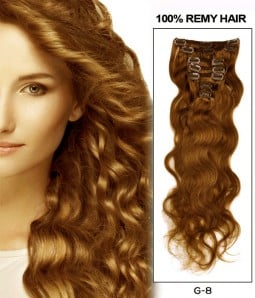 "22"" Light Brown 7 Pieces Body Wave Clip In Indian Remy Human Hair Extension E722001BW-G-8"