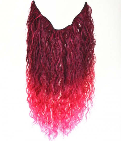 """20"""" Ombre Pink Curly Heat Friendly Synthetic Flip & Clip In Hair Extension"""