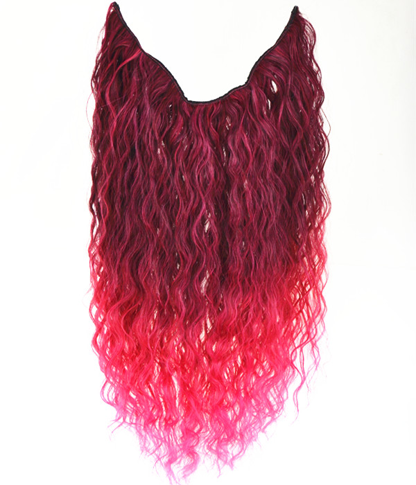 20 Ombre Pink Curly Heat Friendly Synthetic Flip Clip In Hair