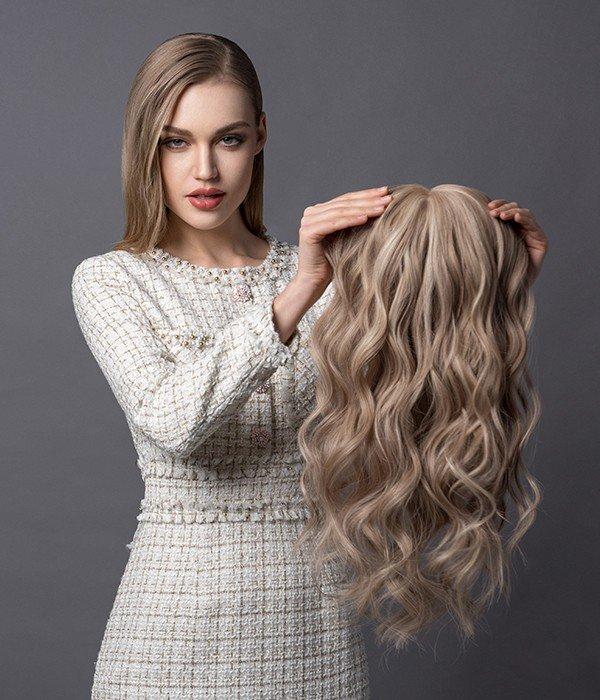 """8.5""""x9"""" Melanie Remy Human Hair Mono Topper"""