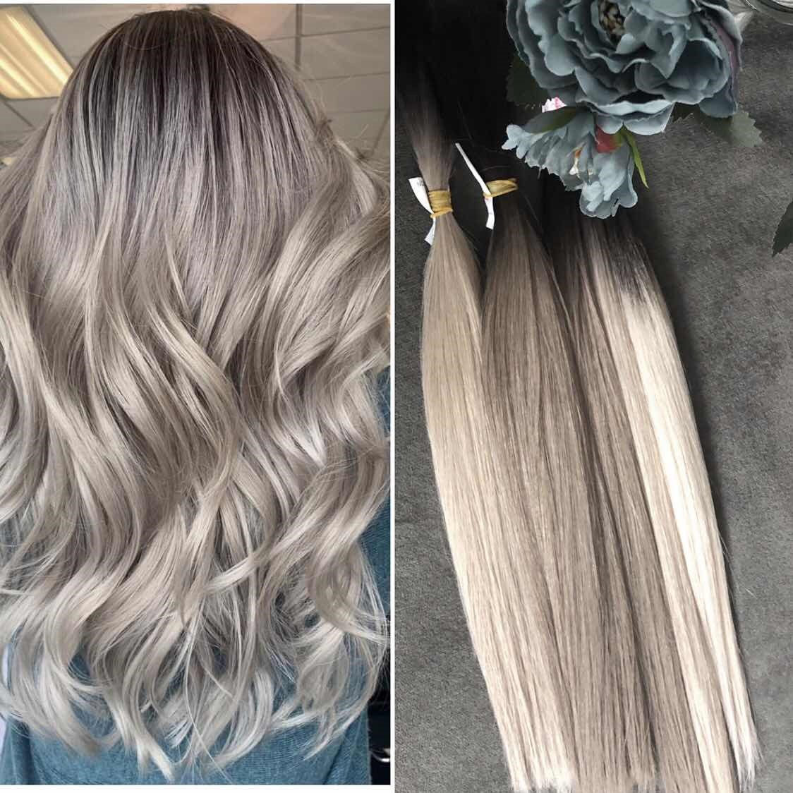 Dark Brown to Cool-Toned Ash Blonde Ombre