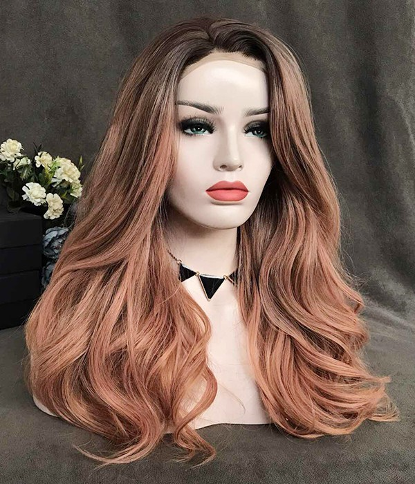 Peach Rose with Caramel Highlights and Dark Roots Synthetic Lace Front Wig