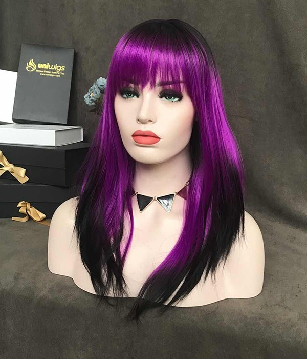 Violet with Black Tips and Bangs Synthetic Wig