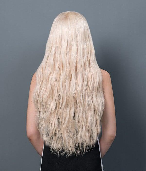 Long White Ash Blonde Remy Human Hair Lace Wig