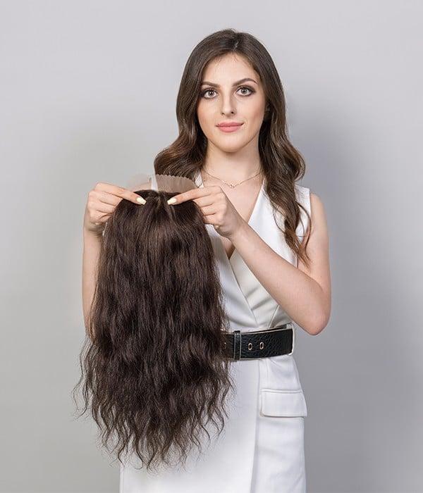 """5.5""""x6"""" Vickie Wavy Virgin Remy Human Hair Mono Topper"""