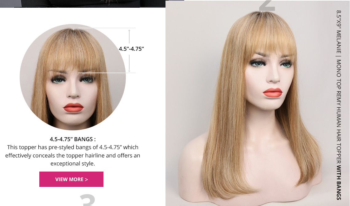 Melanie human hair topper with bangs
